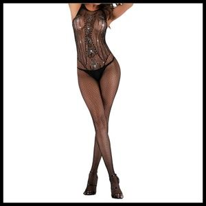 Miss Babydoll Intimates & Sleepwear - NEW Sexy Bling Fishnet Bodystocking Lingerie #D29L